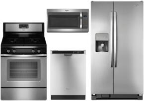 WH4PCFSSBS30GFCSSKIT1 4-Piece Stainless Steel Kitchen Package with WRS325FDAM 36