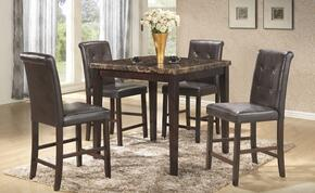 G0048TET 5 PC Dining Room Set with Dining Table + 4 Bar Stools in Brown Finish