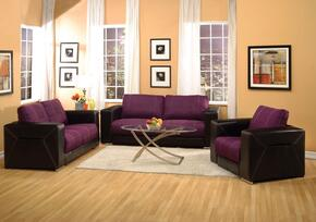 Brayden 51680SLC 3 PC Living Room Set with Sofa + Loveseat + Chair in Purple and Black Color