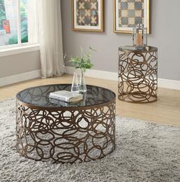 Anya 80935CE 2 PC Living Room Table Set with Coffee Table + End Table in Antique Brass Finish