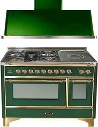 "2-Piece Emerald Green Kitchen Package with UM120SDMPVS 48"" Freestanding Dual Fuel Range (Brass Trim, 5 Burners, French Cooktop) and UAM120VS 48"" Wall Mount Range Hood"