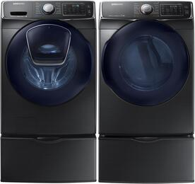 "Black Stainless Front Load Laundry Pair with WF45K6500AV 27"" Washer, DV45K6500EV 27"" Electric Dryer and 2 WE357A0V Pedestals"