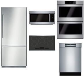 """5-Piece Stainless Steel Outdoor Kitchen Package with B30BB830SS 30"""" Bottom Freezer Refrigerator, NETP068SUC 31"""" Smooth Cooktop, HBLP651UC 30"""" Double Wall Oven, HMVP053U 30"""" Over the Range Microwave, and SHE89PW55N 24"""" Dishwasher"""