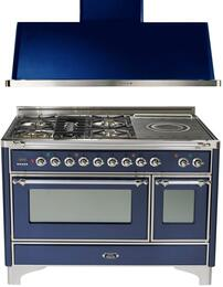 "2-Piece Midnight Blue Kitchen Package with UM120SDMPBLX 48"" Freestanding Dual Fuel Range (Chrome Trim, 5 Burners, French Cooktop) and UAM120BL 48"" Wall Mount Range Hood"
