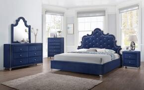 Caroline Collection CAROLINEQPBDMN 4-Piece Bedroom Set with Queen Panel Bed, Dresser, Mirror and Single Nightstand in Navy