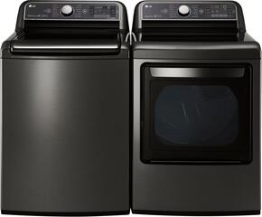 "Black Stainless Steel Front Load Laundry Pair with WT7600HKA 27"" Top Load Washer and DLEX7600KE 27"" Electric Dryer"
