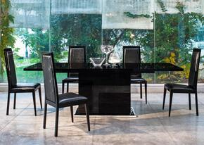VGACANCONA-DT-BLKCH Modrest Ancona Extendable Dining Table + 5 Chairs in Black