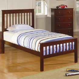 Parker 400290TSETA 2 PC Bedroom Set with Twin Slat Bed + Chest in Chestnut Finish