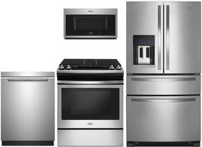 "4-Piece Kitchen Package with WRX735SDBM 36"" French Refrigerator, WEG515S0FS 30"" Gas Freestanding Range, WMH32519FS 30"" Over The Range Microwave oven and WDTA50SAHZ 24"" Built In Dishwasher in Stainless Steel"