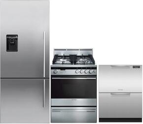 "3-Piece Stainless Steel Kitchen Package with RF135BDLUX4 25"" Counter-Depth Left Hinge Bottom-Freezer Refrigerator, OR24SDMBGX2 24"" Freestanding Gas Range and DD24SDFX7 24"" Semi Integrated Single Drawer Dishwasher"