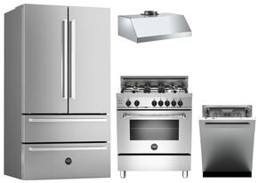 "4-Piece Kitchen Package With REF36X 36"" French Door Refrigerator, MAS304GASXE 30"" Freetanding Gas Range, KU30PRO1XV 30"" Wall Mount Hood and DW24XV 24"" Built In Dishwasher in Stainless Steel"