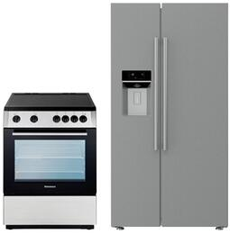 "2 Piece Kitchen Package With BERU24200SS 24"" Electric Freestanding Range and BSBS2230SS 36"" Side By Side Refrigerator In Stainless Steel"