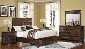 00186EBDMNN Grandview 5 Piece Bedroom Set with Storage King Bed, Mirror and Two Nightstands, in Brown