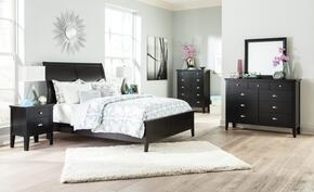 Braflin King Bedroom Set with Panel Bed, Mirror, Dresser and Single Night Stand in Black Finish