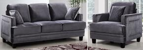 Ferrara Collection 654-GRY-S-C 2 Piece Living Room Set with Sofa and Chair in Grey