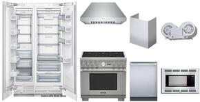 9-Piece Kitchen Package with T18IF800SP Freezer, T24IR800SP Refrigerator, PRD366JGU Range, MBES Microwave, MBT30JS Trim Kit, DWHD640JFP Dishwasher, HPCN36NS Hood, CHMHP36TSN Chimney Extension and VTN1080N Internal Blower in Stainless Steel