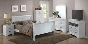 G3190AKBSET 6 PC Bedroom Set with King Size Sleigh Bed + Dresser + Mirror + Chest + Nightstand + Media Chest in White Finish