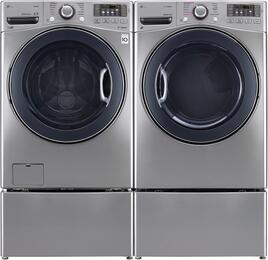 "Graphite Steel Front Load Laundry Pair with WM3770HVA 27"" Washer, DLEX3570V 27"" Electric Dryer, and WDP4V Pedestals"