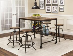 Rustic Elm Industrial Collection CR-W3075-68-5PC 5 PC Bar Table Set with Pub Table + 4 Bar Stools