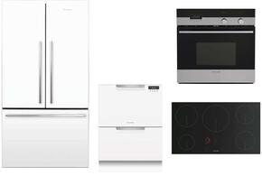 "4 Piece White Kitchen Package With RF201ADW5 36"" French Door Refrigerator, OB24SDPX4 24"" Electric Wall Oven, DD24DCTW9 24"" Drawers Dishwasher and CI365DTB1 36"" Electric Cooktop For Free"