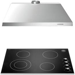 """2-Piece Stainless Steel Kitchen Package with P304CERNE 30"""" Electric Cooktop and KU30PRO1X14 30"""" Canopy Hood"""