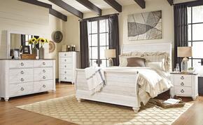 Willowton Queen Bedroom Set with Sleigh Bed, Dresser, Mirror and Single Nightstand in Whitewashed Color