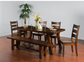 Tuscany Collection 1380VMDT4C 5-Piece Dining Room Set with Extension Dining Table and 4 Chairs in Vintage Mocha