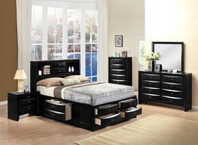 Ireland Collection 21620FSET 5 PC Bedroom Set with Full Size Bed + Dresser + Mirror + Chest + Nightstand in Black Finish