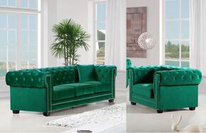 Bowery Collection 6142PCARMKIT3 2-Piece Living Room Sets with Stationary Sofa, and Living Room Chair in Green