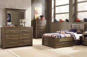 Juararo Twin Bedroom Set with Panel Storage Bed, Dresser and Mirror in Dark Brown