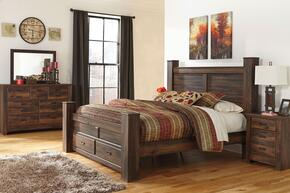 Bowers Collection King Bedroom Set with Poster Storage Bed, Dresser, Mirror and Nightstand in Dark Brown Finish