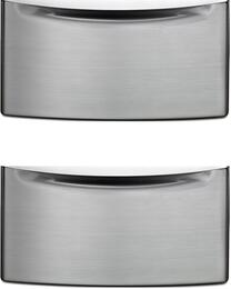 "2XXHPC155YU - 15.5"" Laundry Pedestal with Storage Drawer and Chrome Handle in Diamond Steel (2 Pedestal Bundle)"