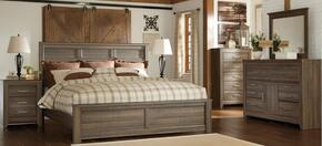 Juararo King Bedroom Set with Panel Bed, Dresser, Mirror and Nightstand in Dark Brown