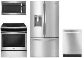 "4 Piece Kitchen package With WEE510S0FS 30"" Electric Range, WMH31017FS Over The Range Microwave, WRF992FIFM 36"" French Door Refrigerator and WDT720PADM 24"" Built In Dishwasher In Stainless Steel"