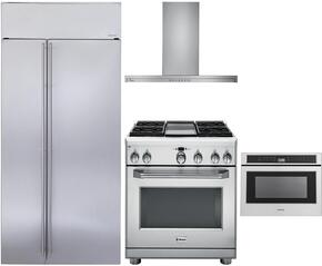 """4-Piece Stainless Steel Kitchen Package with ZISS420NKSS 42"""" Side by Side Refrigerator, ZDP364NDPSS 36"""" Freestanding Dual Fuel Range, ZV800SJSS 36"""" Wall Mount Convertible Hood, and ZWL1126SJSS 24"""" Microwave Drawer"""