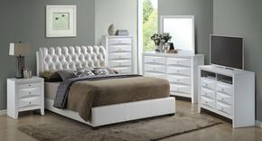 G1570CKBUPSET 6 PC Bedroom Set with King Size Bed + Dresser + Mirror + Chest + Nightstand + Media Chest in White Color