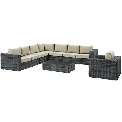 Modway Summon Collection EEI-2014-GRY-XXX-SET 7 Piece Outdoor Patio Sunbrella Sectional Set with Left Arm Facing Loveseat, 2 Armless Chairs, Corner Chair, Right Arm Facing Loveseat, Coffee Table and Arm Chair in Grey