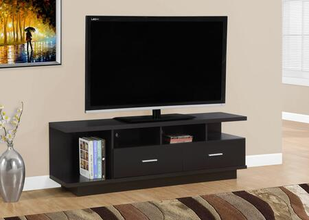 "Monarch I 267Y 60"" TV Stand with 2 Drawers, 4 Open Concept Shelves and Modern Design"