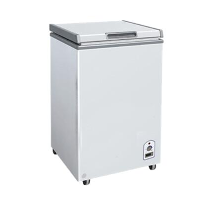 Maxx Cold MXHxS Maxx Cold X-series Chest Freezer with 3.3 Cu. Ft., Solid Hinged , Recessed Handle, Aluminum Interior, White Exterior,  Light, Temperature Display, Front Facing Drainage, Front Casters, Self-contained Refrigeration, and ETL Certified, in White