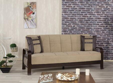"""Casamode SNSB 82"""" Wide Convertible Sofa Bed with Wooden Frame, Stainless Steel Accents and Tufted Detailing in"""