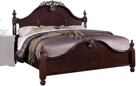Acme Furniture 218 Gwyneth Size Bed with Bun Feet, Detailed Finial Posts, Solid Hardwood and Veneers in Cherry Finish