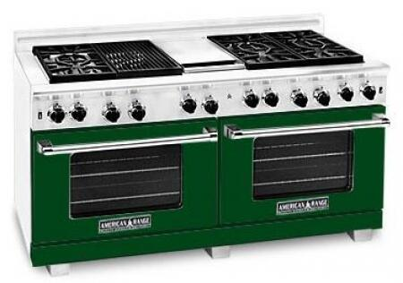 "American Range ARR6062GRLFG 60"" Heritage Classic Series Gas Freestanding Range with Sealed Burner Cooktop, 4.8 cu. ft. Primary Oven Capacity, in Green"