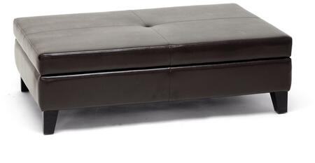Wholesale Interiors Y192001DARKBROWN Sandusky Series Contemporary Leather Ottoman