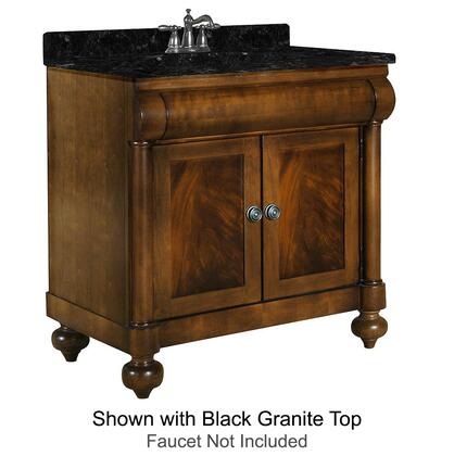 "Kaco John Adams Collection 348-3000 30"" Vanity with 2 Doors, Turned Bun Feet and Water Resistant Brown Cherry Finish with X Granite Top"