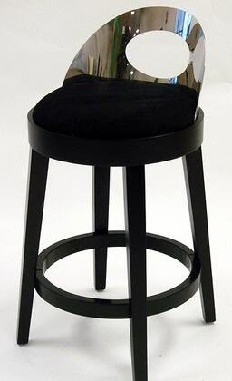 Armen Living LC4046BABL Vista Stationary Microfiber Bar stool with Solid Wood Construction, Polished Steel Back and Fire Retardant Foam Padding in Black