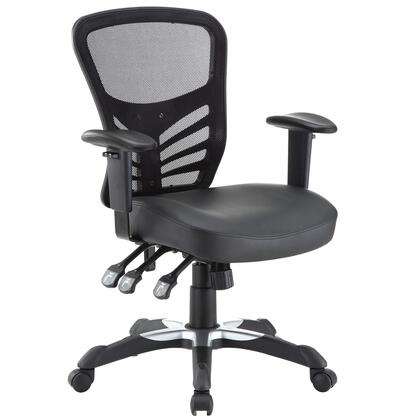 Modway EEI-755 Articulate Vinyl Office Chair with Breathable Mesh Back, Sponge Seat Covered With Vinyl, Pneumatic Height Adjustment, Height Adjustable Back and Armrests