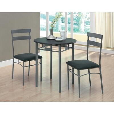 Monarch I 307 3 Piece Bistro Set, One Round Table + Two Chairs, with Sturdy Metal Legs and Cushioned Upholstered Seating