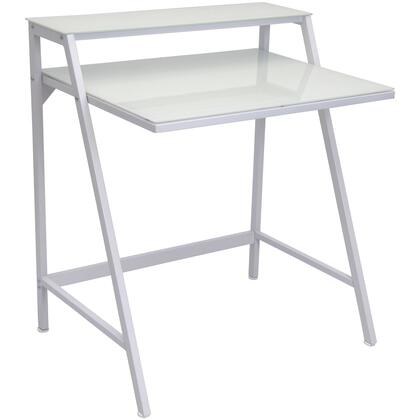 "LumiSource 2-Tier OFD-TM2TIER 23"" Desk with Hutch, Tempered Glass Top and Compact Design in"