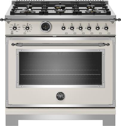 Bertazzoni Heritage HERT366DFSAVT 36 inch Dual Fuel Range, 6 Brass Burner, Electric Self-Clean Oven