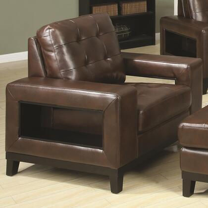 Coaster 504433 Paige Series Bonded Leather with Wood Frame in Chocolate with Ottoman Included